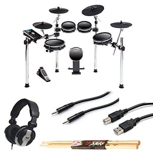DM10 MKII Studio Kit Nine-Piece Electronic Drum Kit with Mesh Heads + CAD MH110 Monitor Headphones + TRS Stereo Cable + Type A to Type B USB Cable + On Stage Maple Wood 5B Drum Sticks – Valued Bundle