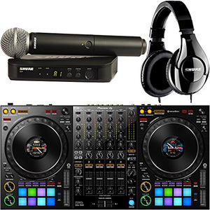 Pioneer DDJ-1000 4-Channel DJ Controller for Rekordbox Dj with Shure Wireless SM58 Microphone and Headphones