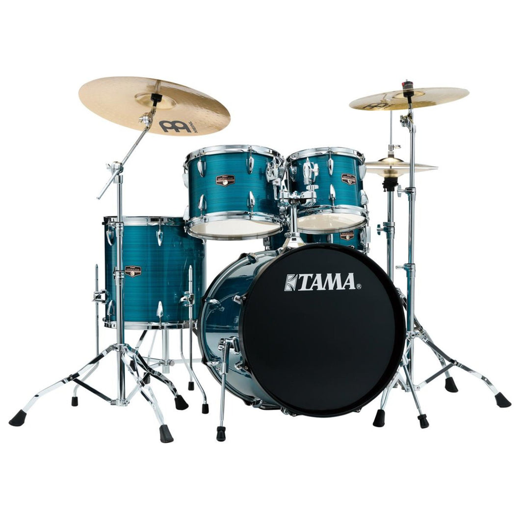 Tama Imperialstar 5-Piece Complete Drum Set with Meinl HCS Cymbals - FREE PROMO CYMBAL PACK - Hairline Blue