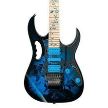 Ibanez JEM77P Steve Vai Signature JEM Premium Series 6 String Electric Guitar in Blue Floral Pattern with Clip On Guitar Tuner and Guitar Cable