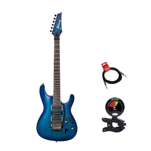 Ibanez S670QM S Series 6 String Solid Body Electric Guitar Package in Sapphire Blue With Guitars Clip On Tuner and Instrument Cable Bundle
