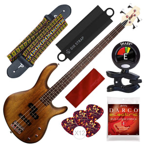 Cort Action PJ Series 4-String Electric Bass, Open Pore Walnut with Guitar Strap, Massaging Shoulder Strap Attachment and Bundle