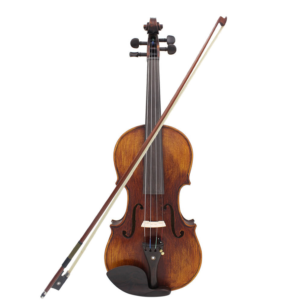 Original 4/4 Ebony Fitted Solid Wood Violin with Hard Case, Shoulder Rest, Bow, Rosin, Extra Bridge and Strings - Full Size