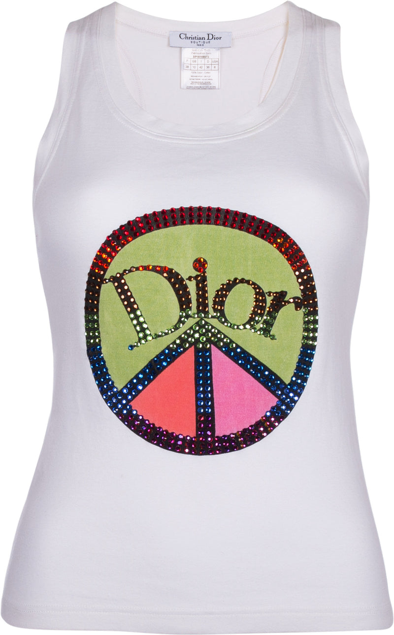 Christian Dior Logo Peace Sign Swarovski Tank