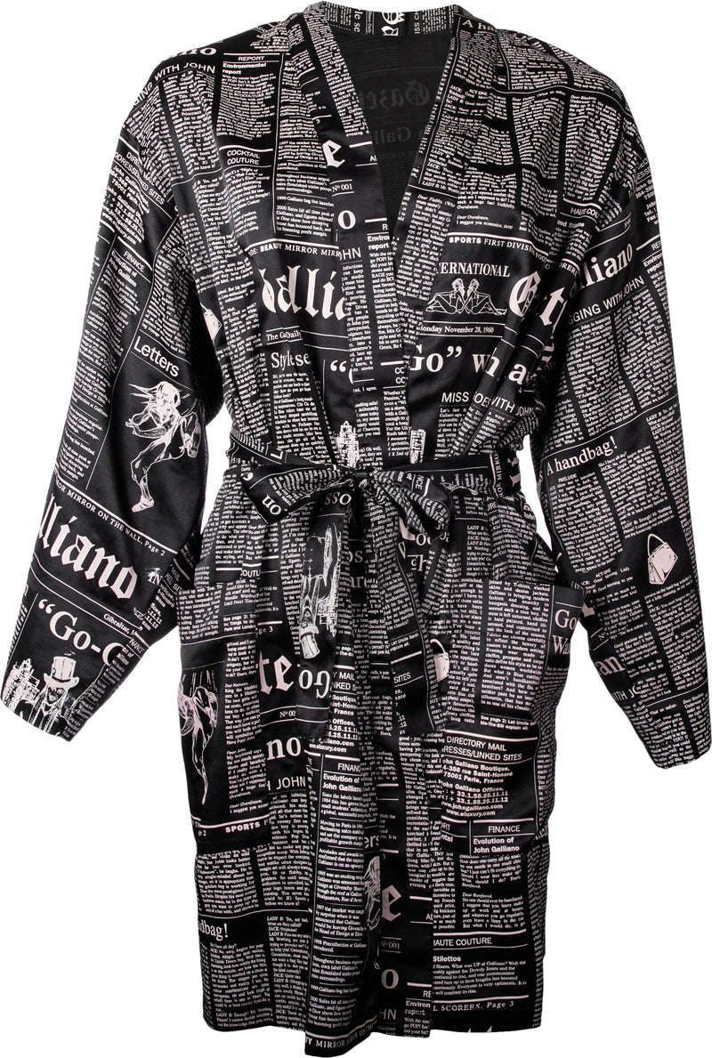John Galliano Gazette Newspaper Silk Robe