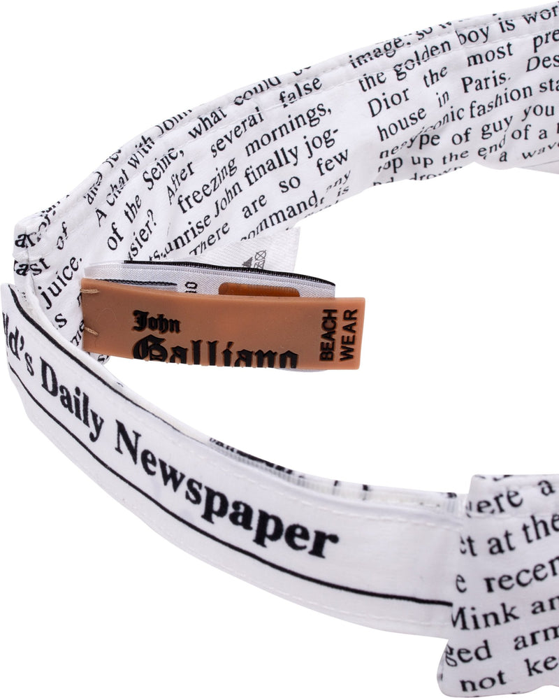 John Galliano White Gazette Newspaper Visor Hat