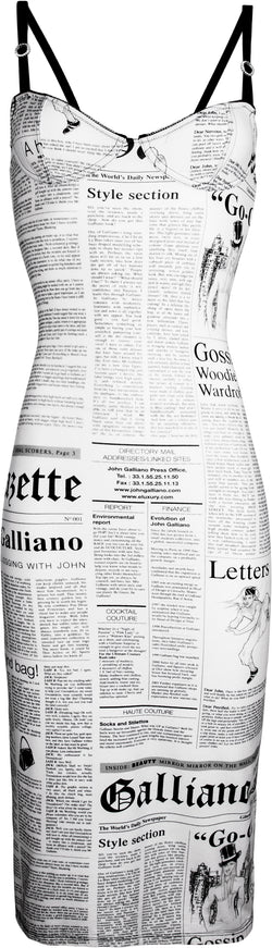 John Galliano Gazette Newspaper Bustier Dress