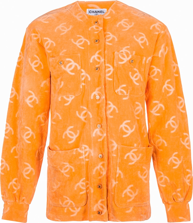 Chanel Velour Logo Spring 1996 Runway Jacket