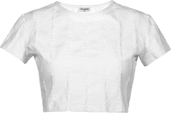 Chanel Spring 1997 White Logo Crop Top