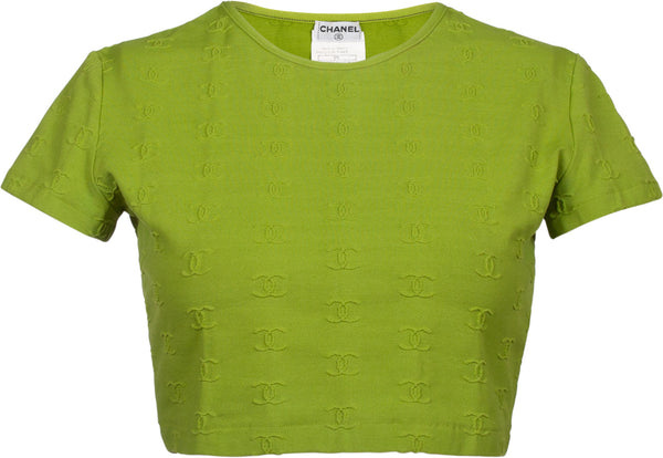 Chanel Spring 1997 Green Logo Crop Top