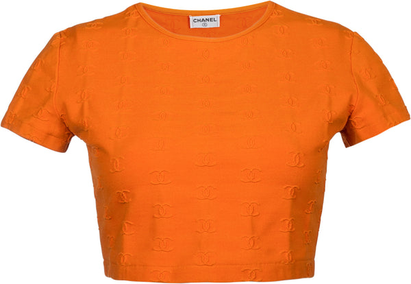 Chanel Spring 1997 Orange Logo Crop Top