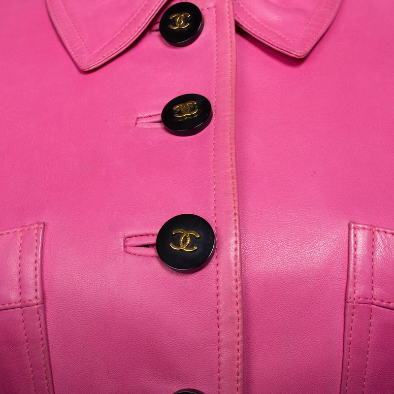 Chanel Mini Pink Cropped Leather Jacket