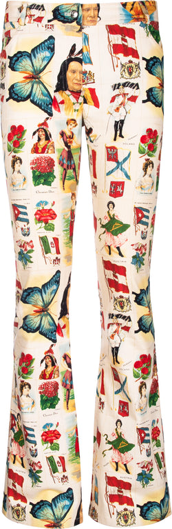 Christian Dior Spring 2002 Printed Stamp Jeans