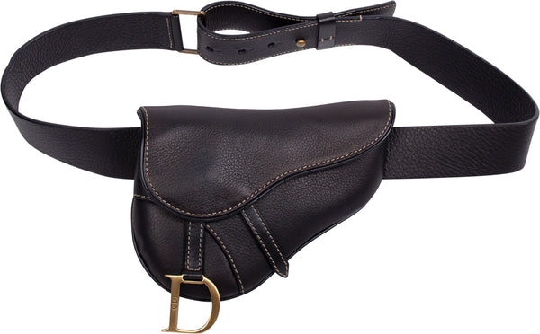 Christian Dior Black Leather Saddle Waist Bag