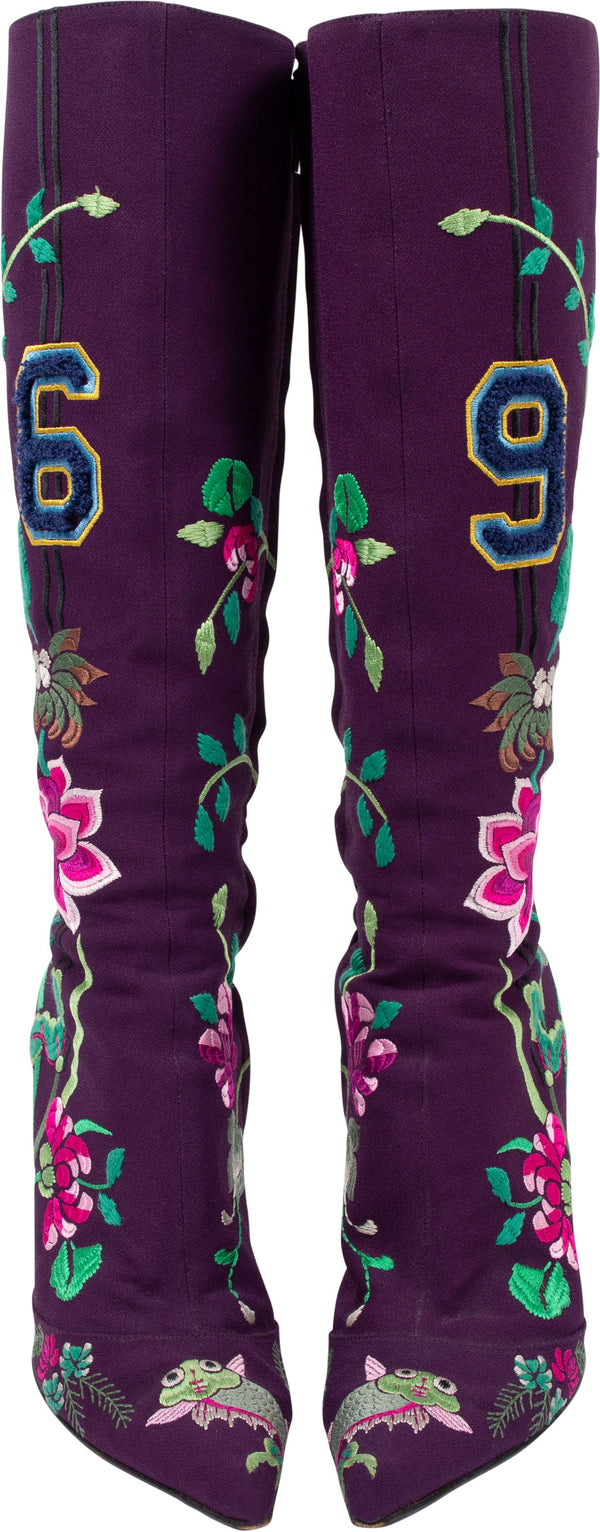 Christian Dior Embroidered Flowers 69 Boots