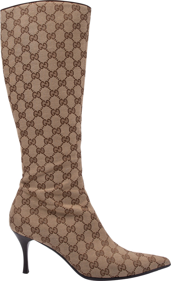 Gucci Monogram Canvas Boots