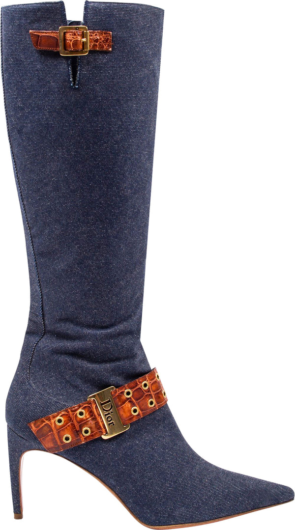 Christian Dior Denim Buckle Boots