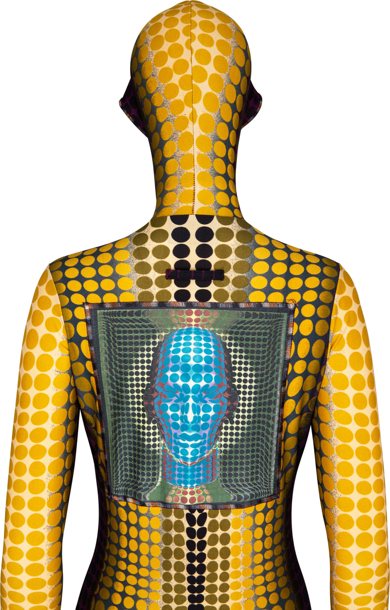 Jean Paul Gaultier Fall 1995 Runway Cyber Dots Hooded Catsuit