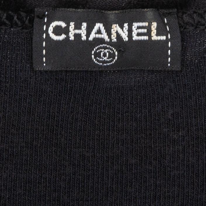 Chanel Black Velour Logo Spring 1996 Mini Dress