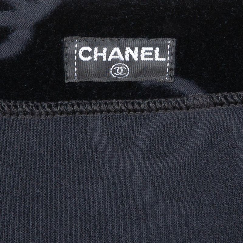Chanel Black Velour Logo Spring 1996 Pants