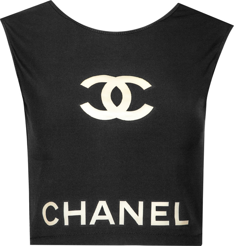 Chanel Spring 2001 Transparent PVC Logo Crop Top