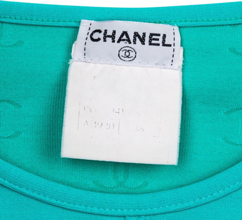 Chanel Spring 1997 Teal Logo Crop Top