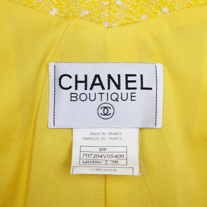 Chanel Spring 1997 Runway Tweed Cropped Yellow Blazer