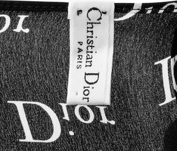 Christian Dior Black Monogram Silk Scarf