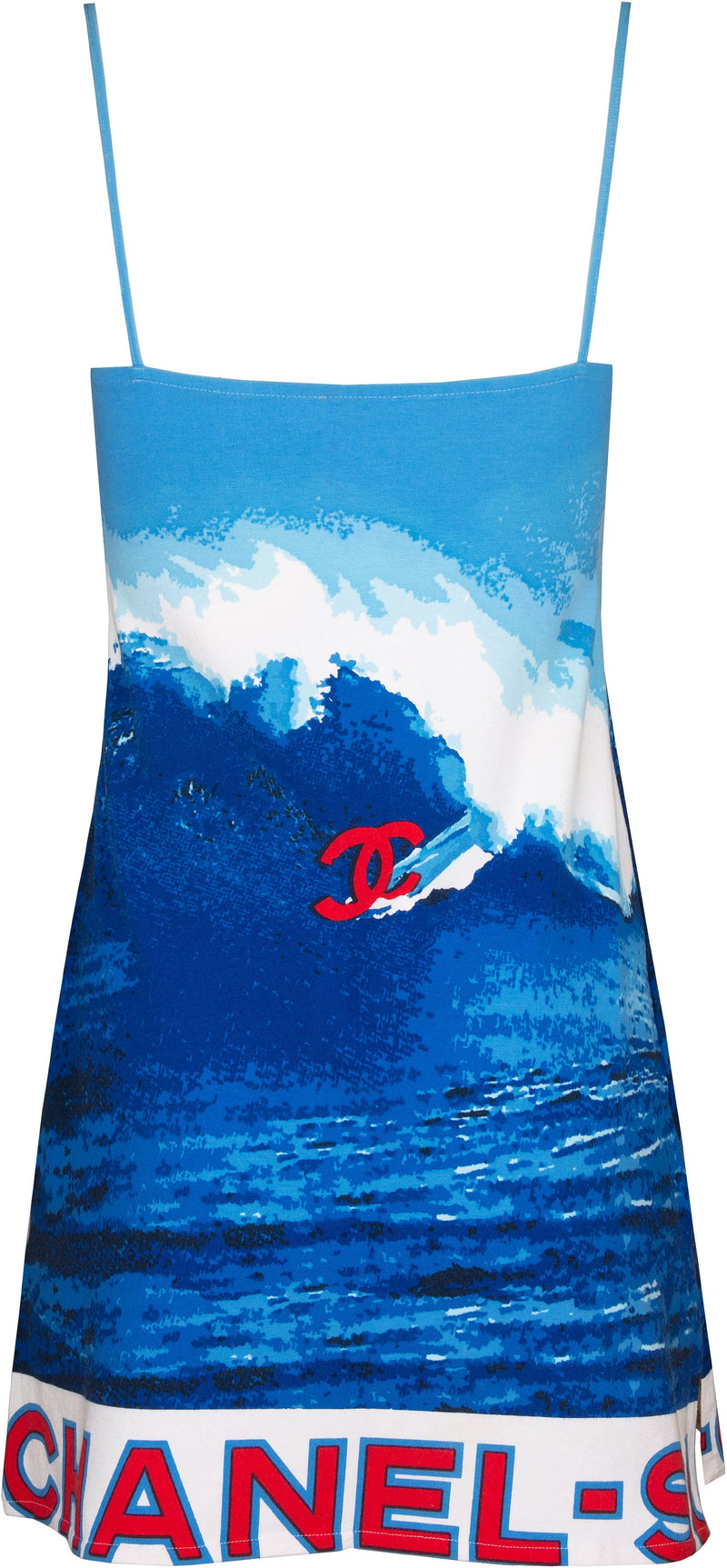 Chanel Spring 2002 Surf Collection Print Mini Logo Dress