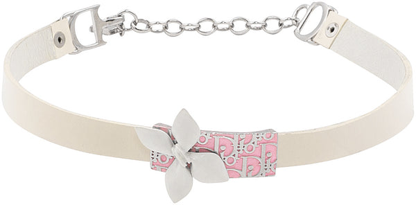 Christian Dior Girly Diorissimo Leather Choker Necklace
