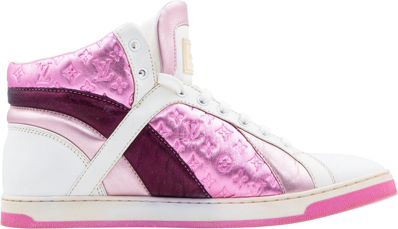 Louis Vuitton Pink Metallic Monogram High-Top Sneakers