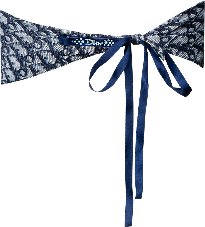 Christian Dior Navy Diorissimo Swarovski Embellished Scarf Top