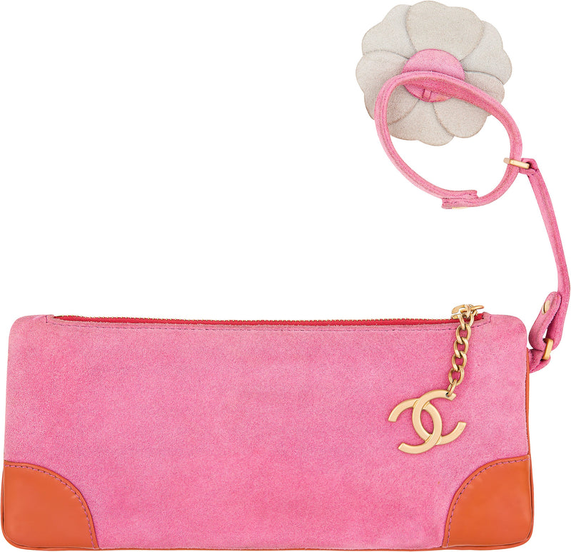 Chanel Suede Camellia Flower Bracelet Clutch Bag