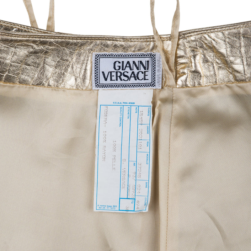 Gianni Versace Spring 1994 Embossed Leather Metallic Skirt