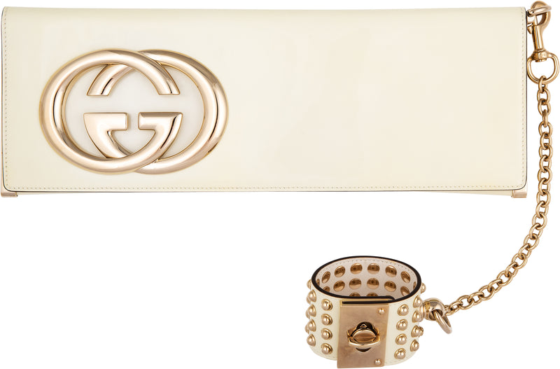 Gucci Patent Studded Wristlet Logo Clutch Bag