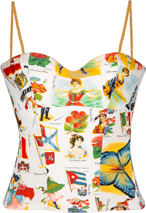 Christian Dior Spring 2002 Stamp Printed Bustier Top