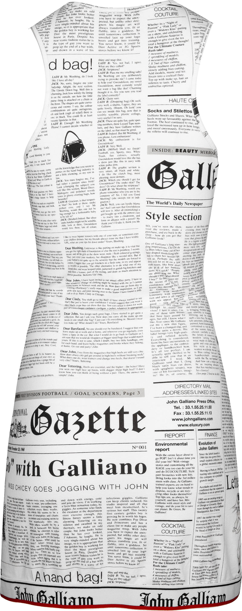 John Galliano Gazette Newspaper Racerback Dress