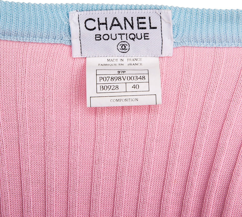 Chanel Spring 1997 Pink Logo Button Top