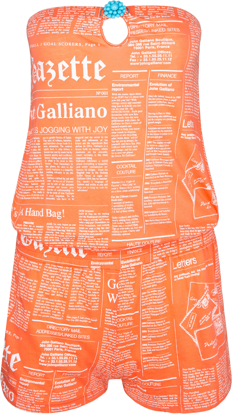John Galliano Gazette Newspaper Shorts Jumpsuit