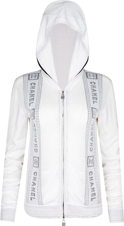 Chanel Cruise 2007 Logo Tape Hoodie Zip Jacket
