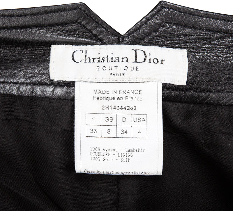 Christian Dior Fall 2002 Embellished Plate Logo Leather Pants