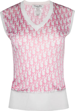 Christian Dior Diorissimo Girly Silk V-Neck Top