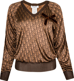Christian Dior Diorissimo Silk V-Neck Top