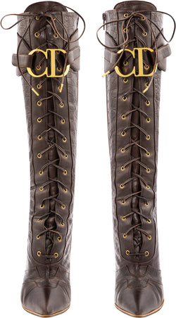 Christian Dior Fall 2000 Runway Logo Embossed Boots