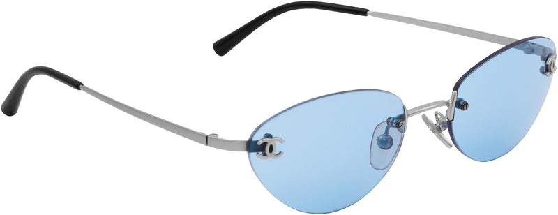 Chanel Blue Rimless Logo Sunglasses