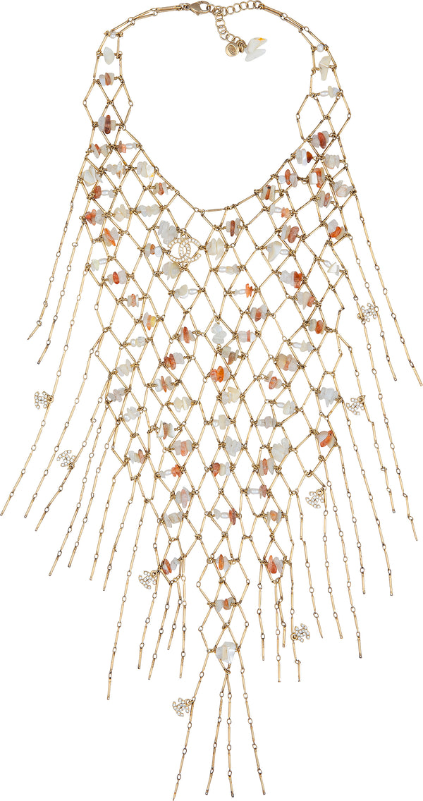 Chanel Cruise 2011 Shell Crystal Fishnet Bib Necklace