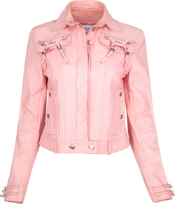 Christian Dior Fall 2003 Pink Leather Logo Jacket