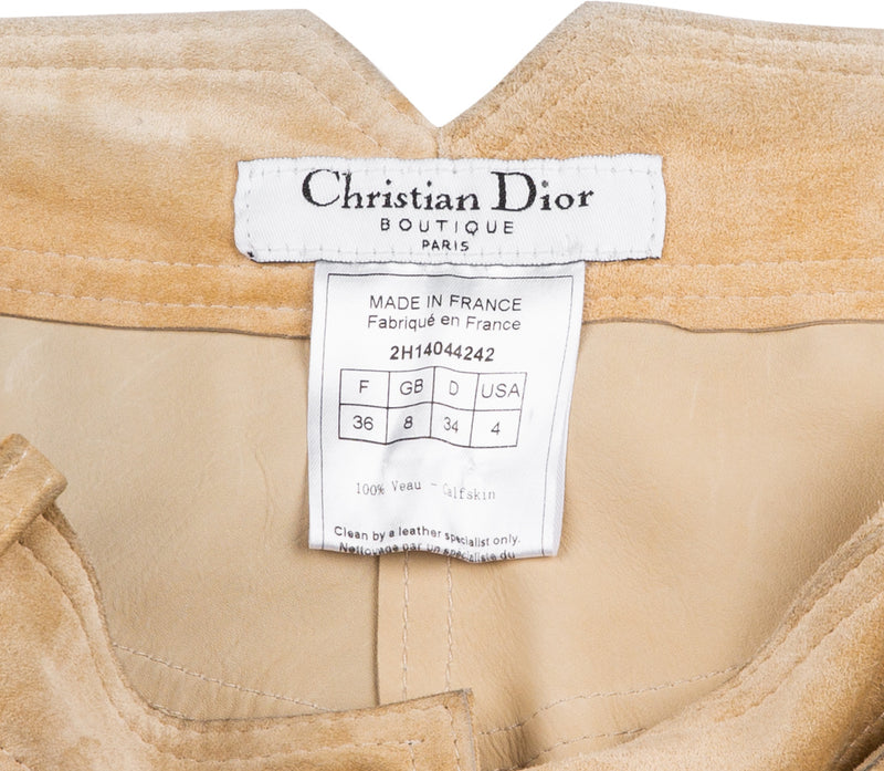 Christian Dior Fall 2002 Embellished Plate Logo Suede Pants