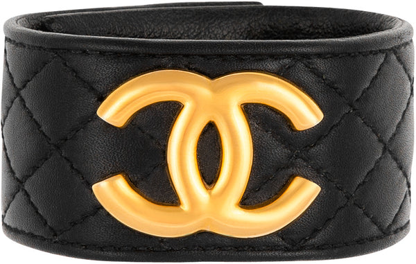Chanel Fall 1997 Quilted Leather Logo Cuff