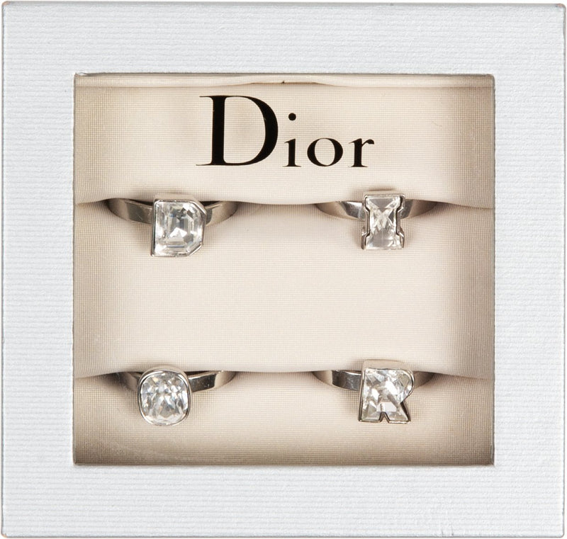 Christian Dior Silver Logo Adjustable Ring Set